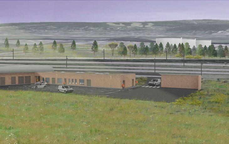 Le garage de trains et bâtiment de service à Issou-Gargenville