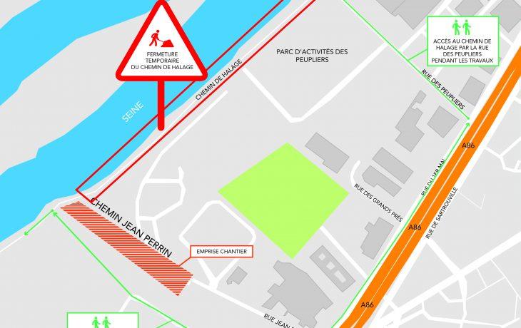 Fermeture de la circulation sur le chemin de halage du 16 au 21mai 2018 (horsweek-end)
