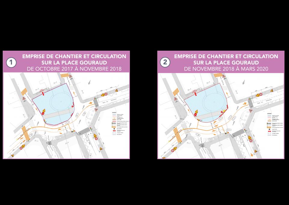 Étape 1 : emprise de chantier et circulation sur la place Gouraud, de octobre 2017 à novembre 2018 ; Étape 2 : emprise de chantier et circulation sur la place Gouraud, de novembre 2018 à mars 2020