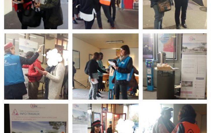 L'équipe Eole à la rencontre desvoyageurs en gare de Mantes-la-Jolie