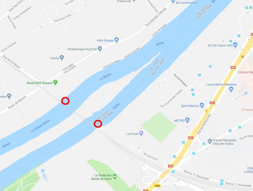 Carte avec des rond rouge qui délimite les chemins de halage, les 2 sont situés sur chaque branche de la Seine