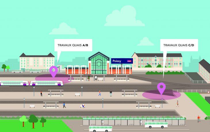 Les travaux en gare de Poissy s&rsquo;intensifient dès le 1<sup>er</sup>&nbsp;octobre