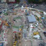 vue aérienne du chantier dans l'axe de l'avenue de la grande armée