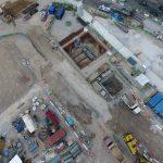 Nouvelle vue aérienne du chantier, tous les éléments sont bien rangés et strtucturés.