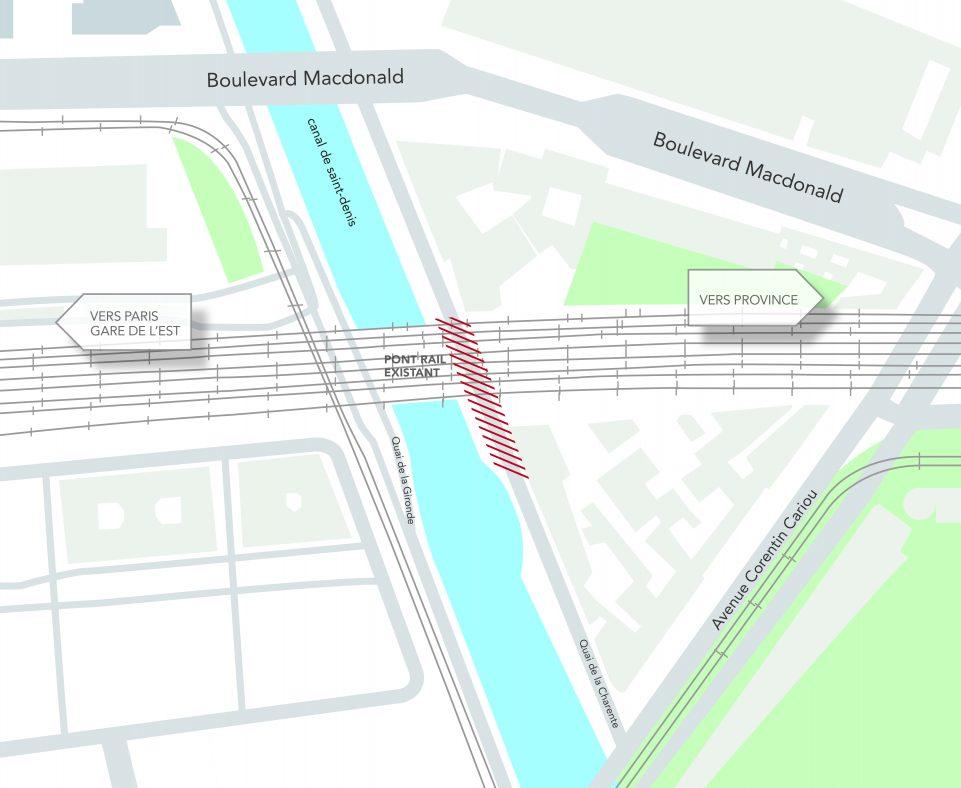 L'emprise de chantier se situe sur une partie du quai de la Charente entre le pont rail existant et l'avenue Corentin Cariou