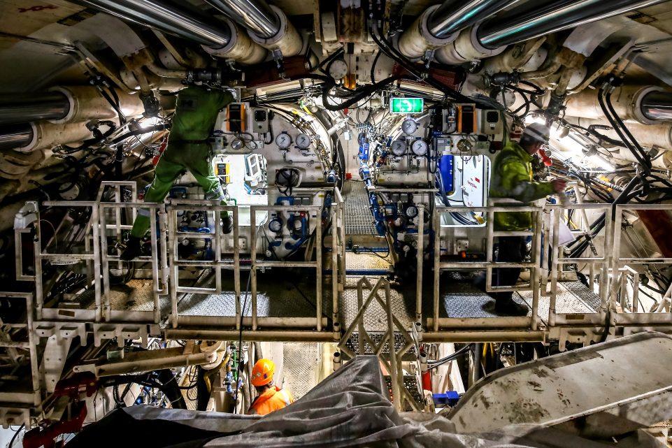 Vue de l'intérieur du tunnelier