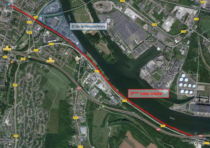 Vue satellite de la ligne actuelle comprennant 2 voies sur laquelle on a fait figurer la future 3ème voie en rouge.