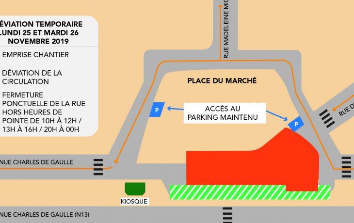 Déviation temporaire de la circulation place du Marché à Neuilly-sur-Seine