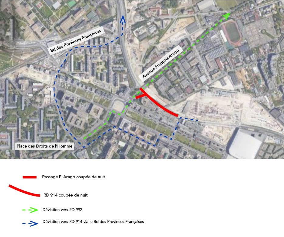 carte de déviation routière liée aux travaux de nuit sur le pont françois arago à Nanterre