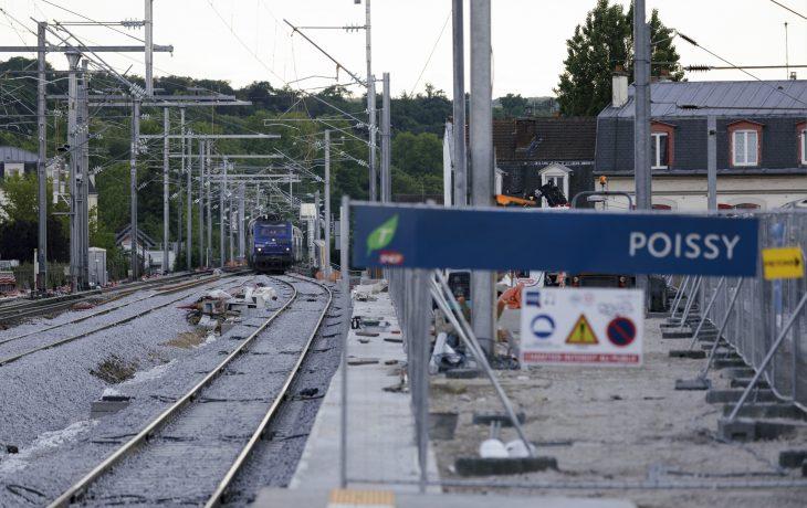 1er passage d'un train sur la nouvelle voie prolongée