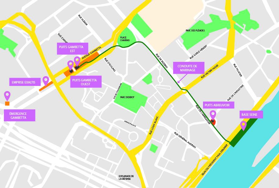Carte du tracé de la conduite de marinage à Courbevoie