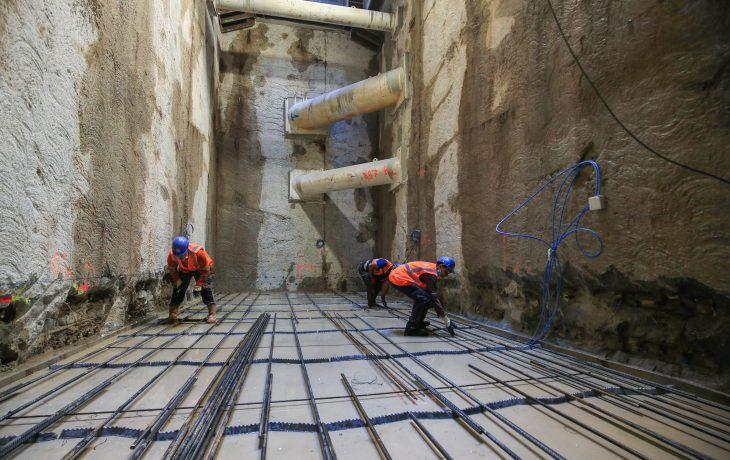Excavation du rameau entre le Puits Hôtel-de-Ville et le futur tunnel