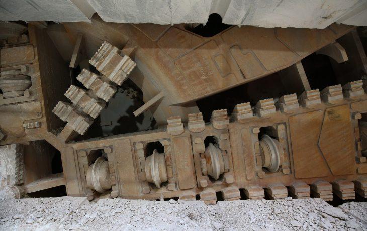 Maintenance en cours sur le tunnelier Virginie.