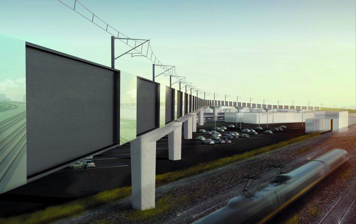 Les premières fondations du viaduc en cours de réalisation