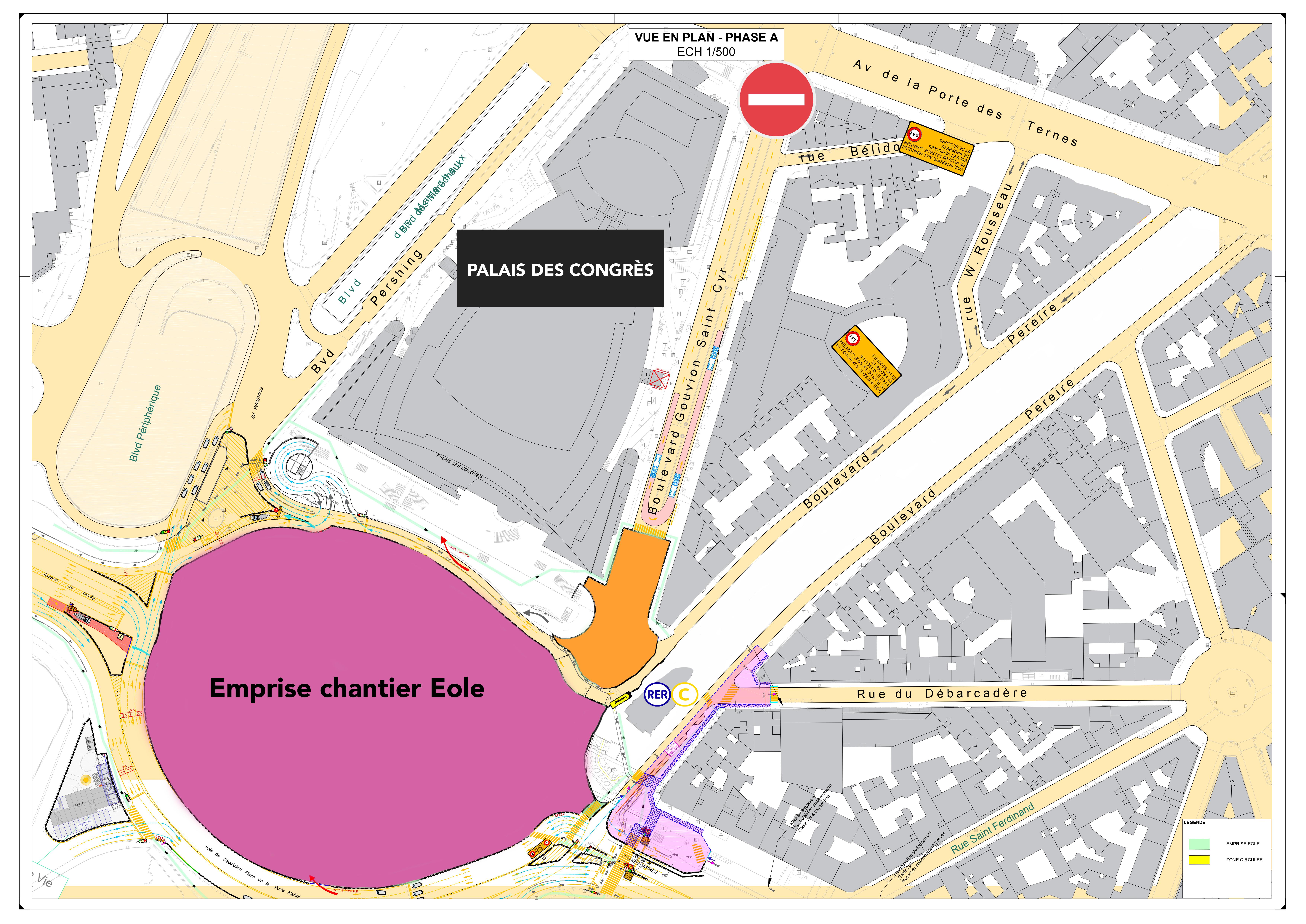 schéma qui explique la fermeture de la rue et les circulations modifiées