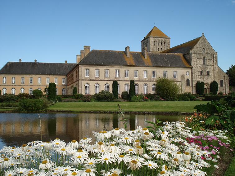 Abbaye et marguerites copyright Marine Leprieur pour Cote Ay Cotentin Tourisme