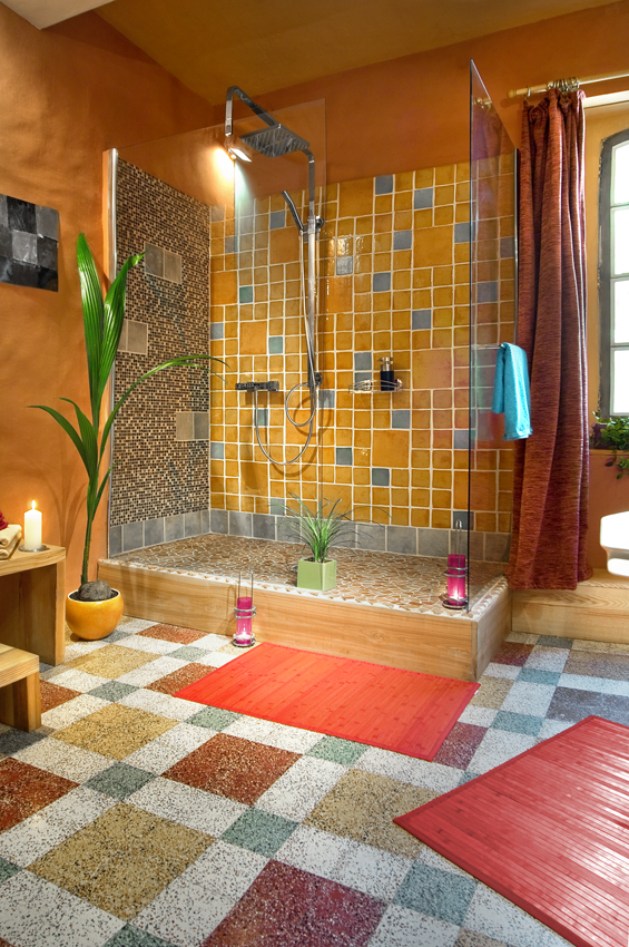 chambres bleue supérieure salle de bain - la vieille maison - halte gourmande