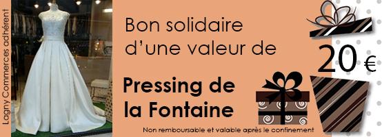 BON SOLIDAIRE DE 20 € POUR LE PRESSING DE LA FONTAINE