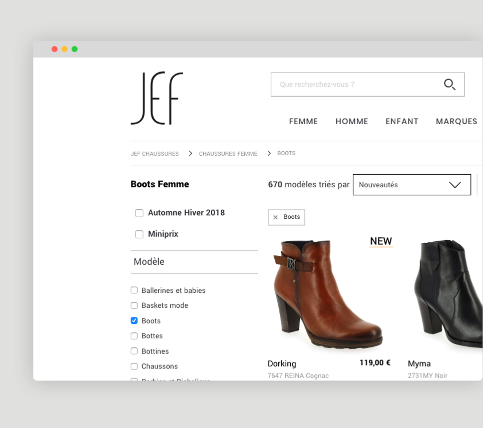 Site e-commerce - Jef chaussures : fil d'ariane