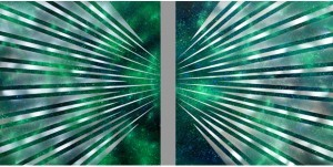 Spazio luce verde, Dittico, Acrilico su tela, 2010