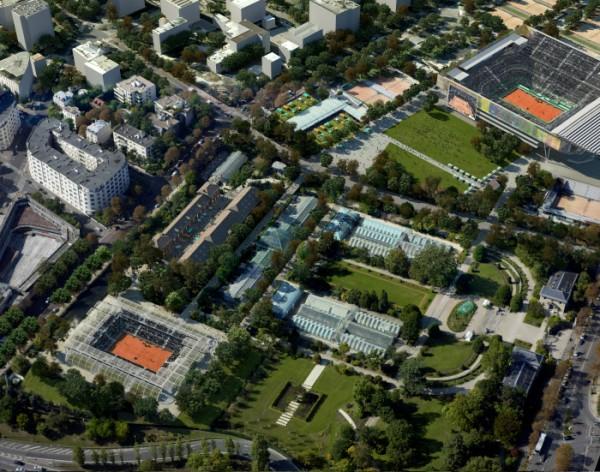 Le plan du futur Roland-Garros avec la construction d'un nouveau court dans les Serres d'Auteuil.