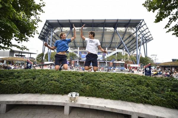 La joie de Nicolas Mahut et Pierre-Hugues Herbert, vainqueurs à l'US Open en 2015.