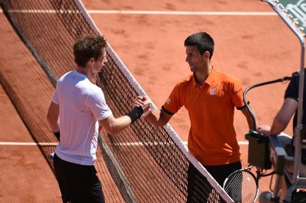 Andy Murray et Novak Djokovic en demi-finale de Roland-Garros 2015.