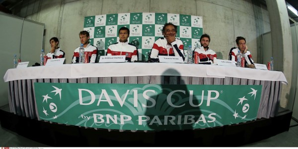 Tennis players, from left, Piere-Hugues Herbert, Lucas Pouille, Jo-Wilfried Tsonga, non playing captain Yannick Noah, Gilles Simon and Nicolas Mahut, members of the French Davis Cup team, attend a news conference on Tuesday, July 12, 2016 in Trinec, Czech Republic, prior to the Davis Cup quarterfinal match Czech Republic vs France. Photo/Petr Sznapka (CTK via AP Images)/P201607120428401/178622239163/CZECH REPUBLIC OUT, SLOVAKIA OUT, POLAND OUT, SWEDEN OUT, NORWAY OUT Please contact your sales representative for pricing and restriction questions. CZECH REPUBLIC OUT, SLOVAKIA OUT, POLAND OUT, SWEDEN OUT, NORWAY OUT/1607121449