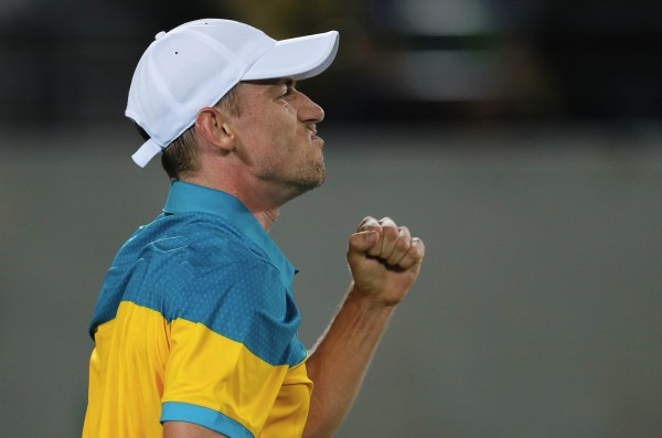 John Millman, of Australia, reacts after winning a point during the match against Kei Nishikori, of Japan, in the men's tennis competition at the 2016 Summer Olympics in Rio de Janeiro, Brazil, Monday, Aug. 8, 2016. (AP Photo/Vadim Ghirda)/OVG172/16222051555821/1608090335