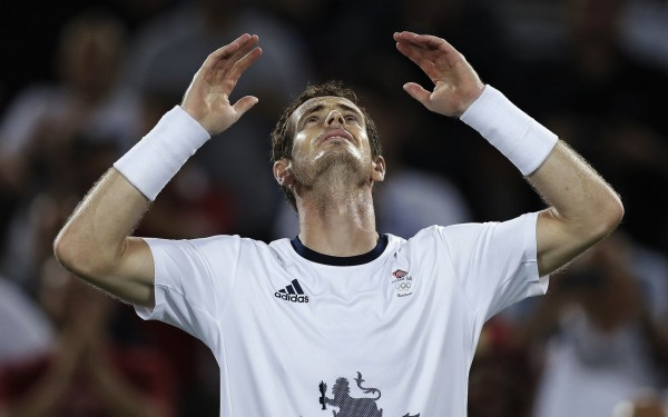 Andy Murray, of England, reacts after defeating Juan Martin del Potro, of Argentina, to win the men's singles gold medal at the 2016 Summer Olympics in Rio de Janeiro, Brazil, Sunday, Aug. 14, 2016. (AP Photo/Charles Krupa)/OKRU151/16228025512413/1608150247