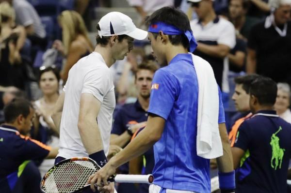 Andy Murray et Kei Nishikori lors du 1/4 de finale de l'US Open 2016