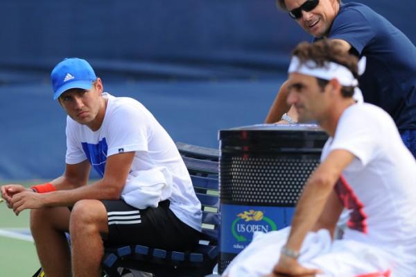 Lucas à l'entraînement avec Federer l'an dernier à l'US Open.
