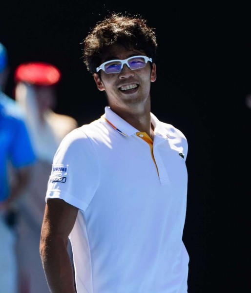 Mandatory Credit: Photo by Mike Frey/BPI/REX/Shutterstock (9332689ch) Hyeon Chung of South Korea celebrates on Day 10 of the Australian Open Australian Open Tennis, Day Ten, Melbourne Park, Melbourne, AUS - 24 Jan 2018/Rex_Australian_Open_Tennis_Day_Ten_9332689CH/1801240658