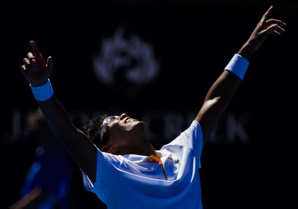 Mandatory Credit: Photo by Mike Frey/BPI/REX/Shutterstock (9332689ci) Hyeon Chung of South Korea celebrates on Day 10 of the Australian Open Australian Open Tennis, Day Ten, Melbourne Park, Melbourne, AUS - 24 Jan 2018/Rex_Australian_Open_Tennis_Day_Ten_9332689CI/1801240658