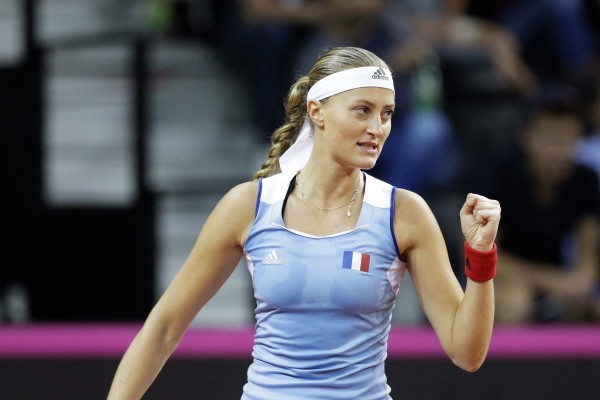 France's Kristina Mladenovic clenches her fist while playing United States' Coco Vandeweghe during her Fed Cup semifinal singles tennis match, in Aix-en-Provence, southern France, Saturday, April 21, 2018. (AP Photo/Claude Paris)/CAM130/18111574796919/1804211802