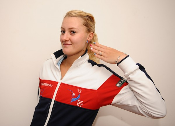 Kristina Mladenovic en 2012, avant son premier match disputé en Fed Cup.