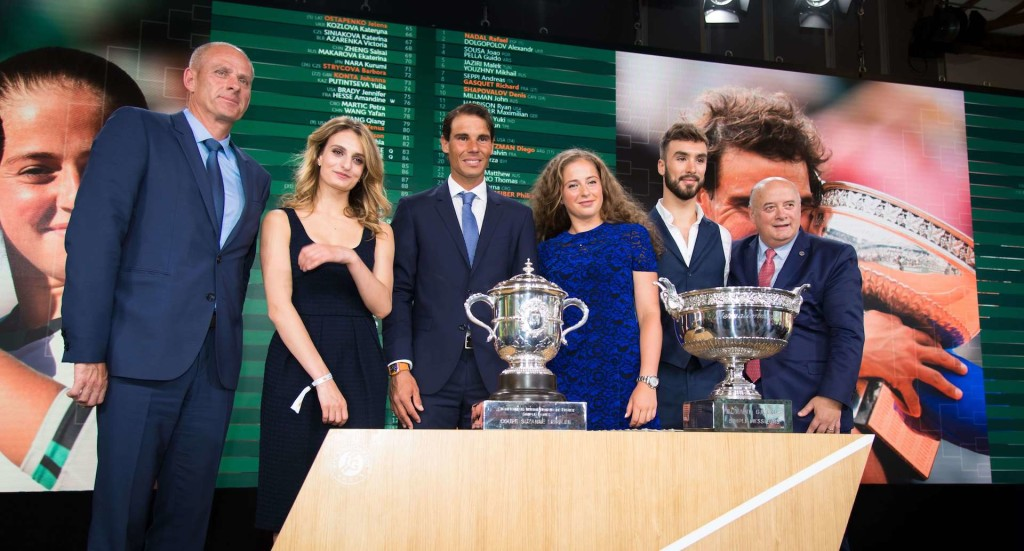Mandatory Credit: Photo by Rob Prange/REX/Shutterstock (9692778a) Rafael Nadal of Spain and Jelena Ostapenko of Latvia at the draw ceremony of the 2018 Roland Garros Grand Slam tennis tournament French Open tennis tournament, Roland Garros, Paris, France - 24 May 2018/Rex_French_Open_tennis_tournament_Roland_Garr_9692778A/1805242121