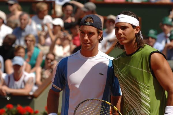 Rafa et Richard avant leur duel du 3è tour à Roland-Garros... en 2005 . Ils avaient alors même pas 19 ans.