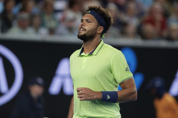 French tennis player Jo Wilfried Tsonga is in action during his 1st round match at the Australian Open vs Russian tennis player American tennis player Kevin King on Jan 15, 2018 in Melbourne, Australia.//LERVALYAN_YL1D2162/Credit:Yan Lerval/SIPA/1801151245