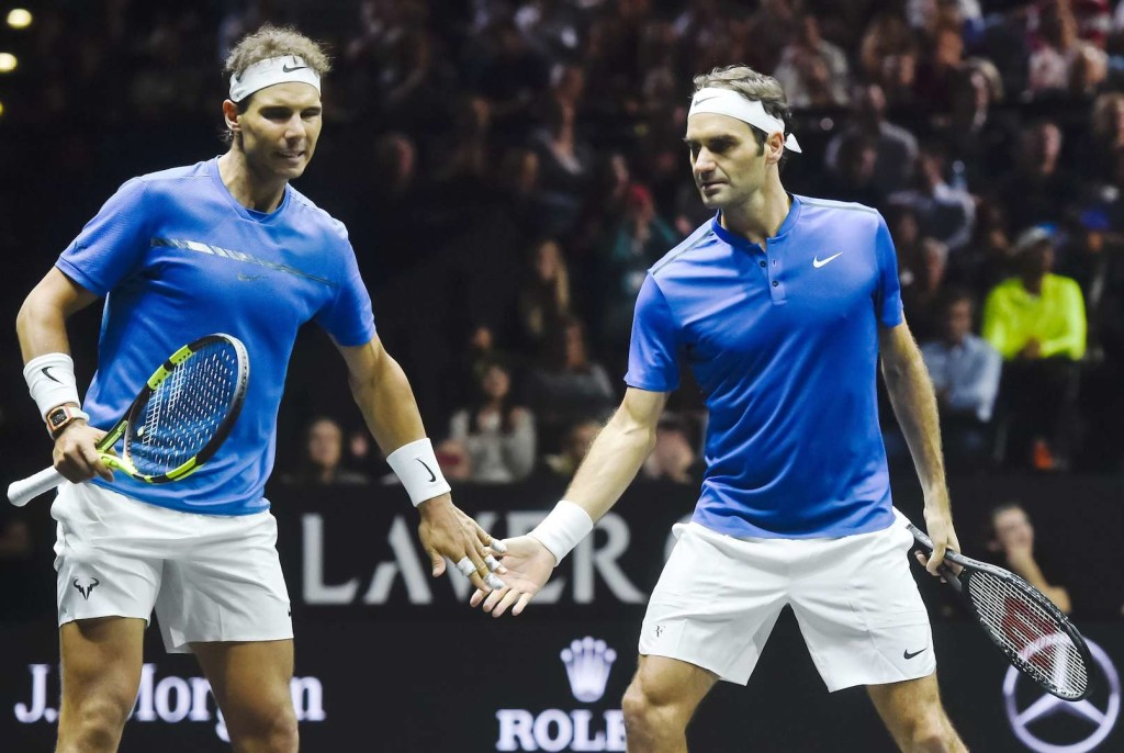 L-R Spanish tennis player RAFAEL NADAL and Swiss tennis player ROGER FEDERER (both Team Europe) are seen during the 8th match, doubles, against US tennis players Sam Querrey and Jack Sock (both Team World) within the first edition of the Laver Cup tennis tournament in Prague, Czech Republic, on September 23, 2017. Photo/Vit Simanek (CTK via AP Images)/P201709230707301/17268435283120/CZECH REPUBLIC OUT, SLOVAKIA OUT, POLAND OUT, SWEDEN OUT, NORWAY OUT Please contact your sales representative for pricing and restriction questions. CZECH REPUBLIC OUT, SLOVAKIA OUT, POLAND OUT, SWEDEN OUT, NORWAY OUT/1709251412