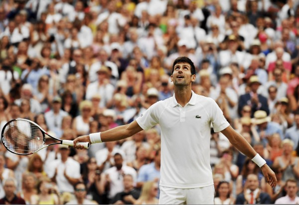 (180714) -- LONDON, July 14, 2018 (XINHUA) -- Novak Djokovic of Serbia reacts after the men's singles semifinal match against Rafael Nadal of Spain at the Wimbledon Championships 2018 in London, Britain, on July 13, 2018. Djokovic won 3-2. (Xinhua/Guo Qiuda) - Guo Qiuda -//CHINENOUVELLE_chine00078/Credit:CHINE NOUVELLE/SIPA/1807141755