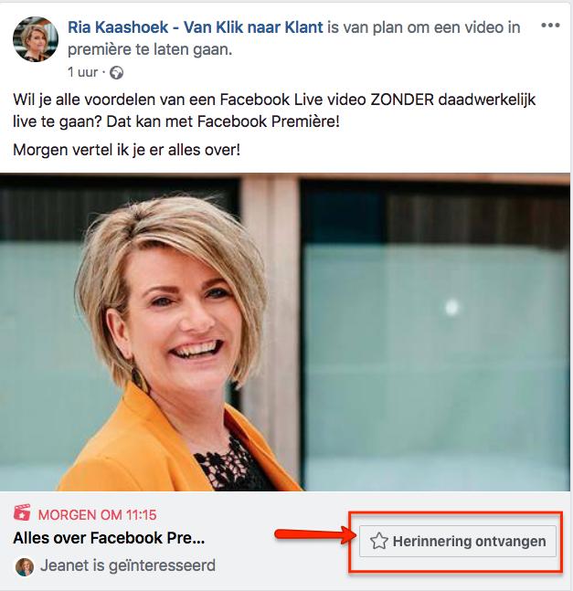 Facebook Premiere herinneringen ontvangen
