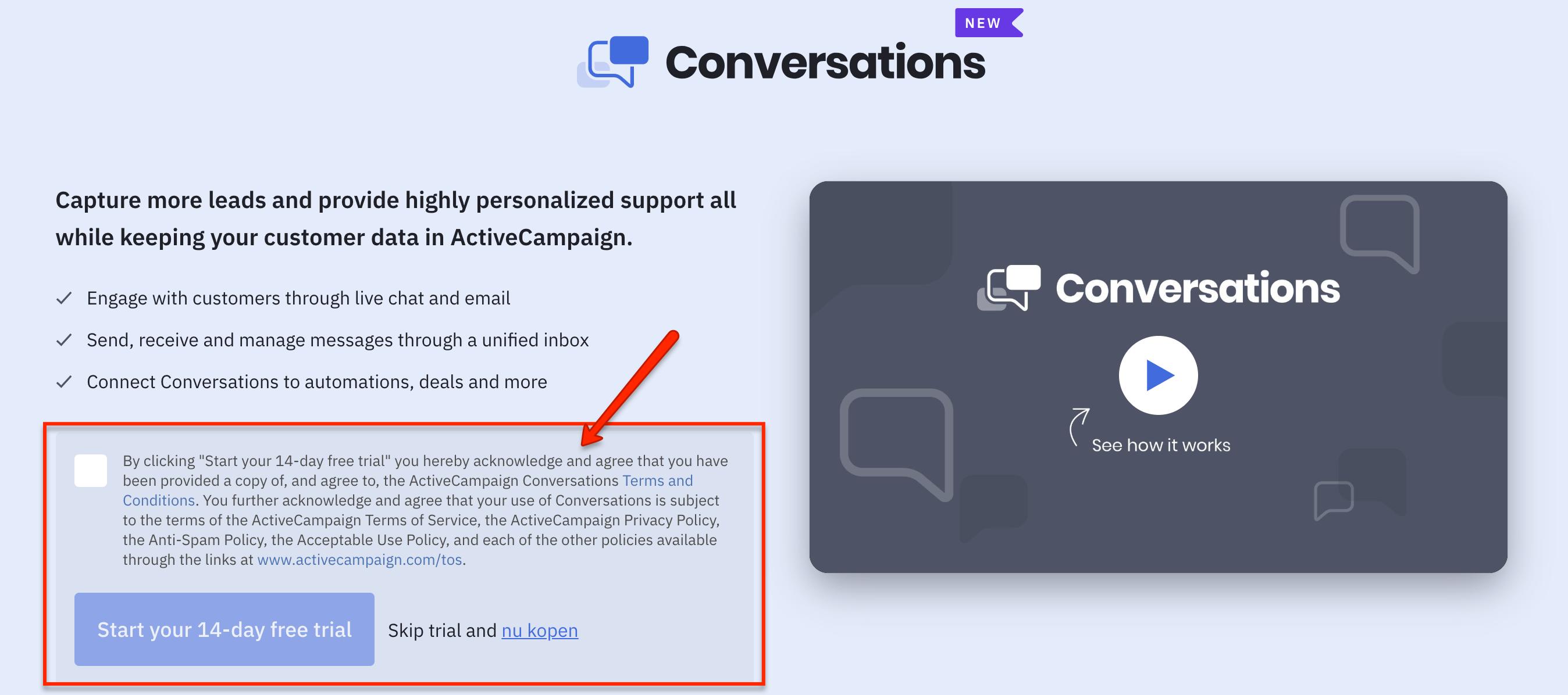 Activecampaign gesprekken functie aanvragen