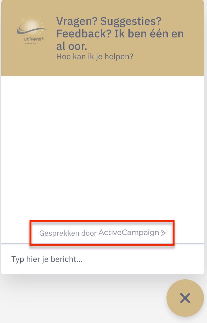 activecampaign gesprekken chatbox