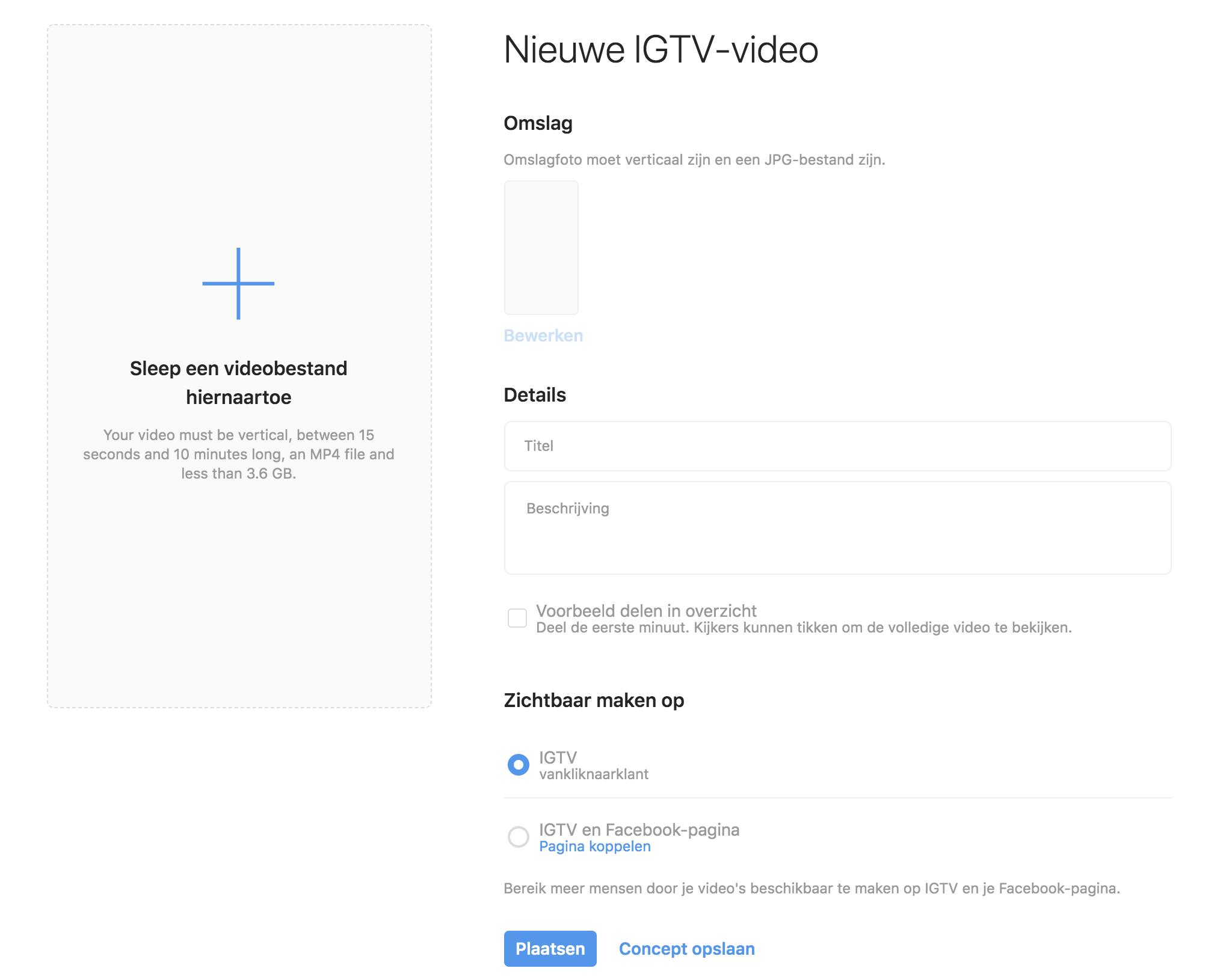 IGTV video uploaden via computer