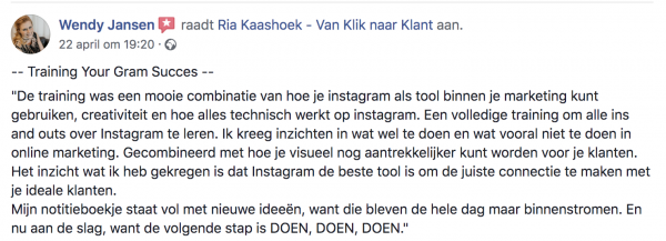 Aanbeveling Instagram Training Your Gram Succes