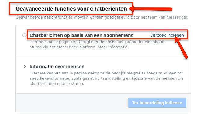 Facebook Messenger op basis van een abonnement