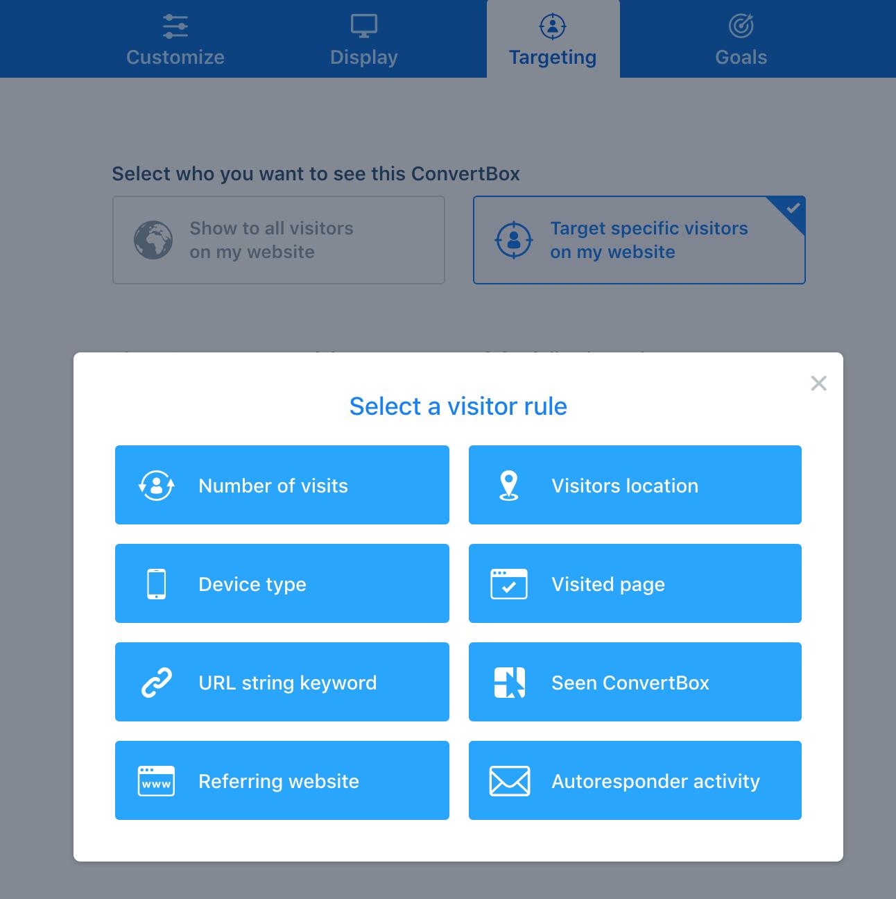 Convertbox targeting opties