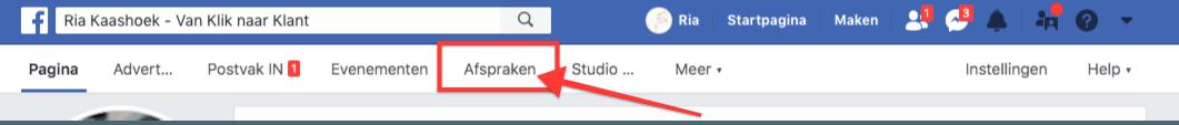Facebook Afspraken functie in menubalk