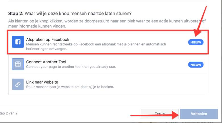 Facebook Afspraken functie via aanzet tot actie button